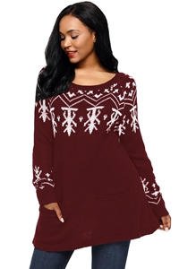 BY27720-3 Burgundy A-line Casual Fit Christmas Fashion Sweater