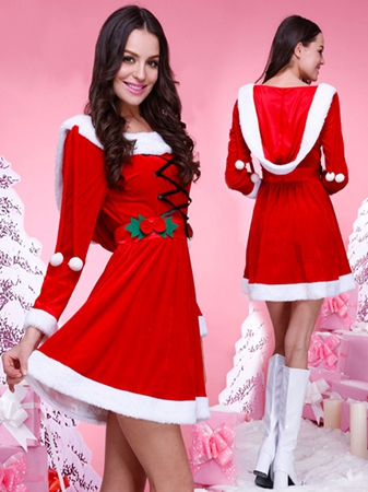 FC144  Christmas Costume for Women Red Velvet Fur Dresses Santa Claus Costume