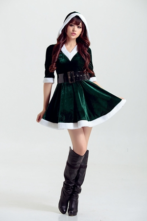 FC150 Green Christmas Uniform Sexy Pajamas Ruffled Hooded Nightclub Dress