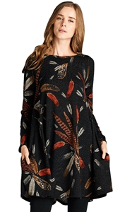 BY220210-2 Black Feather Graphic Pocket Tunic Dress