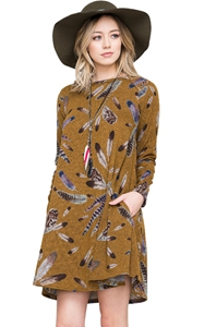 BY220210-7 Mustard Feather Graphic Pocket Tunic Dress
