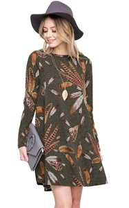 BY220210-9 Olive Feather Graphic Pocket Tunic Dress