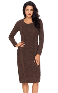BY27772-17 Coffee Women's Hand Knitted Sweater Dress