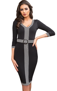 BY61878-2 Black Houndstooth Detail Bodycon Midi Dress