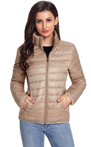 BY85126-18 Khaki High Neck Quilted Cotton Jacket