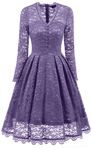 F2528-4 Retro Floral Lace Long Sleeve Vintage Swing Cocktail Bridesmaid Dress