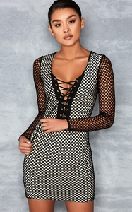 SZ60096 Mixed Mesh Bodycon Dress