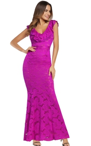 SZ60143-3 Ruffled V-neck Backless Bodycon Mermaid Evening Party Formal Dresses