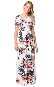 SZ60130-1 Womens T-Shirt Short Sleeve Floral Print Maxi Dress With Pockets