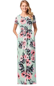 SZ60130-3 Womens Short Sleeve Floral Print Maxi Dress With Pockets