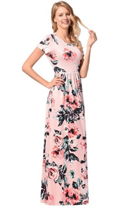 SZ60130-4 Womens Sleeve Floral Print Maxi Dress With Pockets