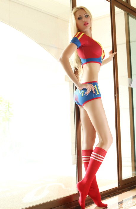 F1836World Cup Cheerleader Uniform Top  Shorts  Sock