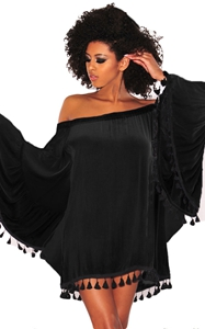 BY220318-2 Black Off Shoulder Black Tassel Trim Dress