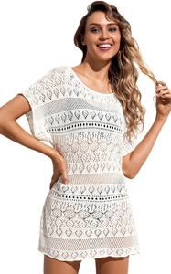 BY420056-1 White Hollow Lace Crochet Short Cover Up Dress
