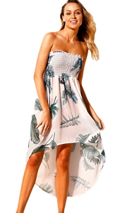 BY42278-4  Tropical Leaf Print White Convertible Beach Dress