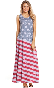 BY610125-22 American Flag Print Sleeveless Maxi Dress