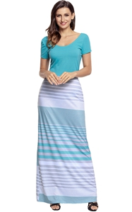 BY61482-9 Pink Crisscross Back Muliticolor Maxi Dress