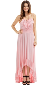 BY61510-10 Lace Up V Neck Ruffle Trim Hi-low Maxi Dress