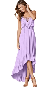 BY61510-8 Lace Up V Neck Ruffle Trim Hi-low Maxi Dress