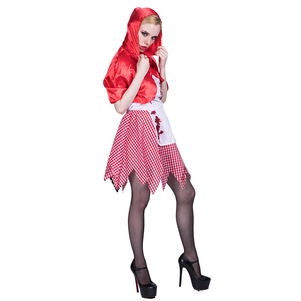 F1858 Fairytale Red Cape Riding Hoody Cosplay Women Halloween Costume