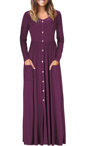 BY610503-3 Hunter  Button Front Pocket Style Casual Long Dress