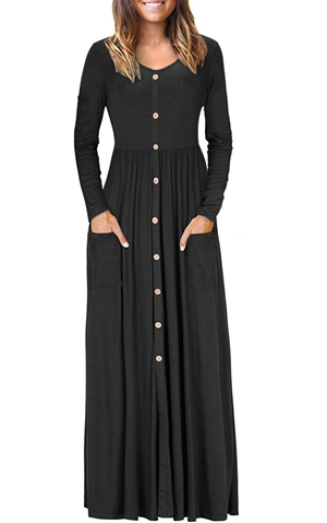 BY610503-2 Hunter  Button Front Pocket Style Casual Long Dress