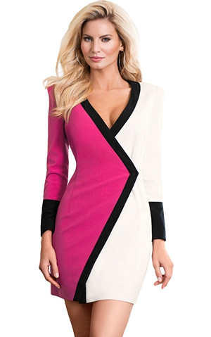 BY220478-6 Color Block Faux Wrap Mini Dress