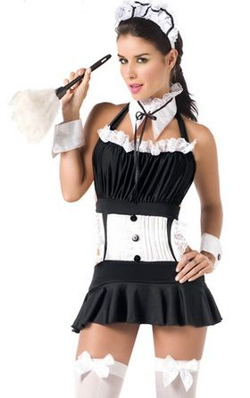 Sexy Backless Women Maid Costume