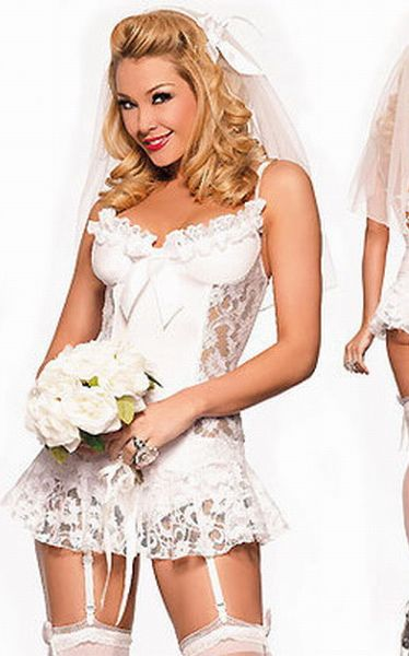 Sexy White Bride Fancy Dress Costume,Brides Basque, Veil Costume
