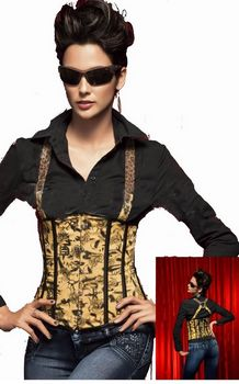 Black and yellow printed underbust boned corset