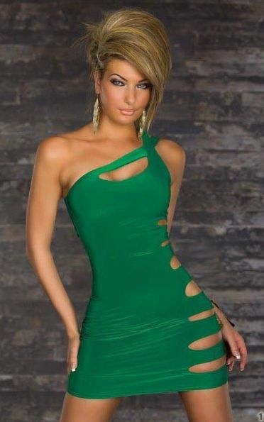 ONE SIDE SHREDDED PARTY QUEEN DRESS GREEN