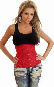 Red Boned Underbust Corset Floral Satin Strapless Corset