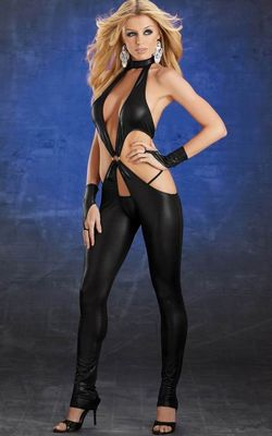 Black Gothic Punk Wetlook Catsuit Fancy Dress Costume